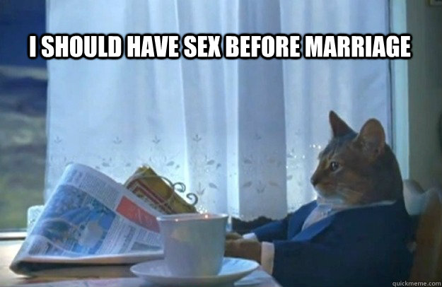 i should have sex before marriage - Sophisticated Cat