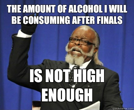The amount of alcohol I will be consuming after finals but t - Too Damn High