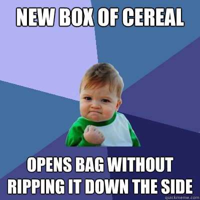 new box of cereal opens bag without ripping it down the side - Success Kid