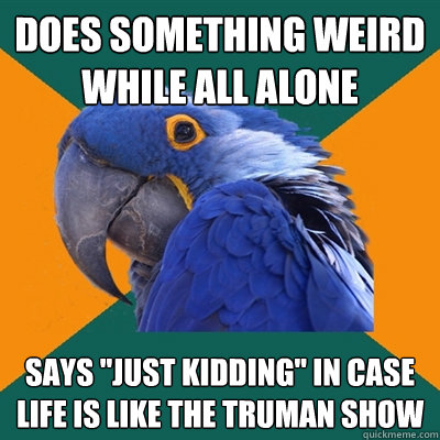 does something weird while all alone says just kidding in  - Paranoid Parrot