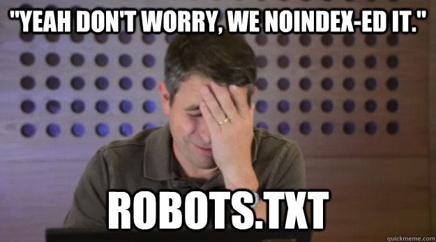 yeah dont worry we noindexed it robotstxt - Facepalm Matt Cutts
