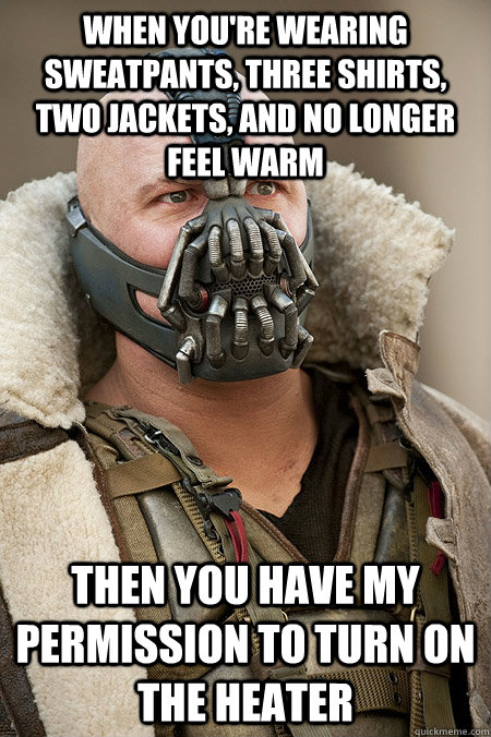 when youre wearing sweatpants three shirts two jackets a - Bad Jokes Bane