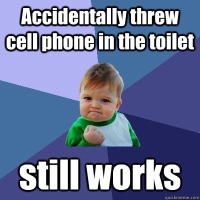 accidentally threw cell phone in the toilet still works - Success Kid