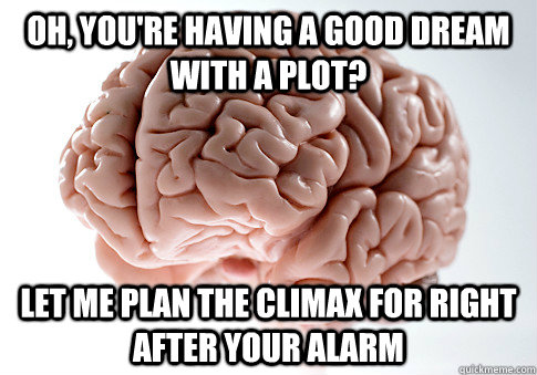 oh youre having a good dream with a plot let me plan the  - Scumbag Brain