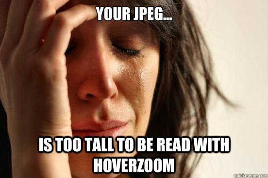 your jpeg is too tall to be read with hoverzoom - First World Problems