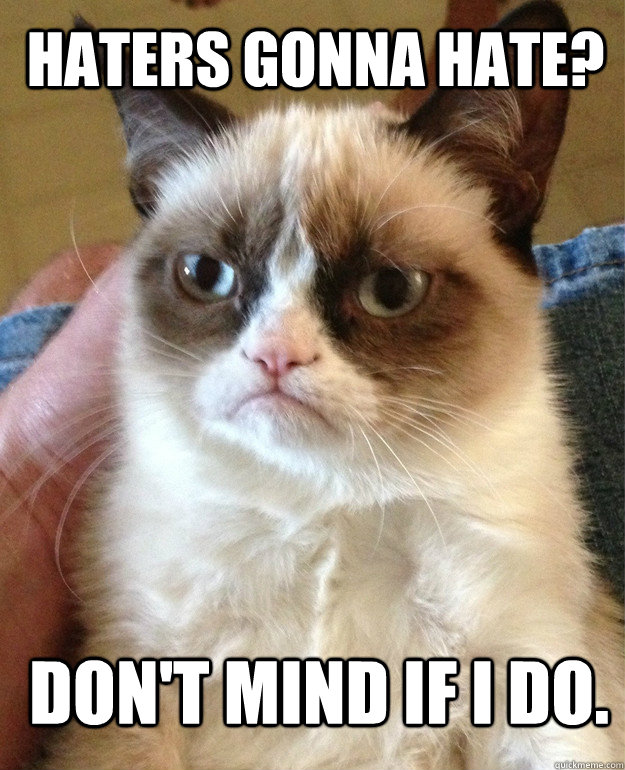 haters gonna hate dont mind if i do - Grumpy Cat