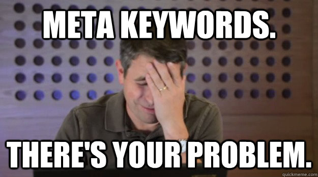 meta keywords theres your problem - Facepalm Matt Cutts