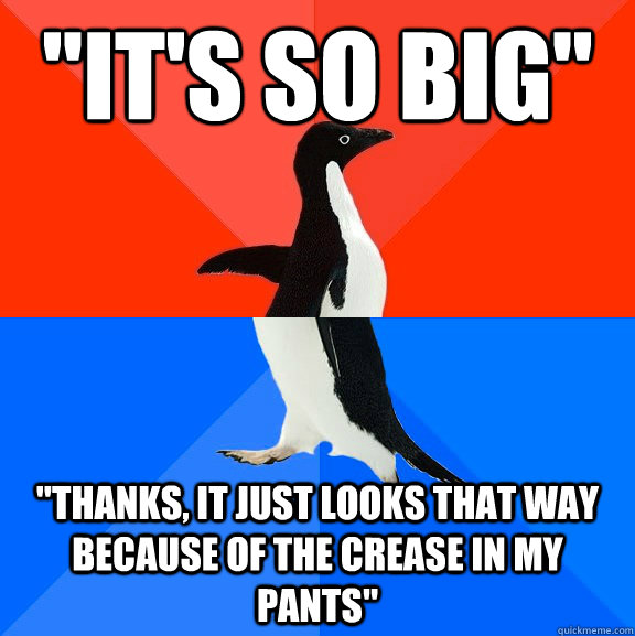 its so big thanks it just looks that way because of the - Socially Awesome Awkward Penguin