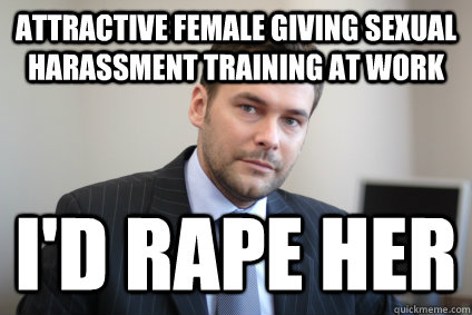 attractive female giving sexual harassment training at work  - Successful White Man