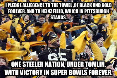 i pledge alliegence to the towel of black and gold forever -