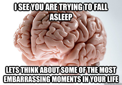 i see you are trying to fall asleep lets think about some of - Scumbag Brain
