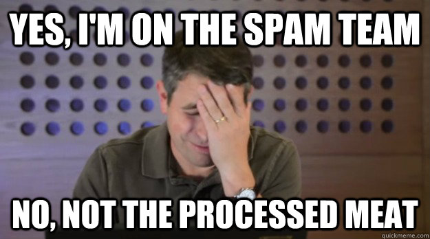 yes im on the spam team no not the processed meat  - Facepalm Matt Cutts