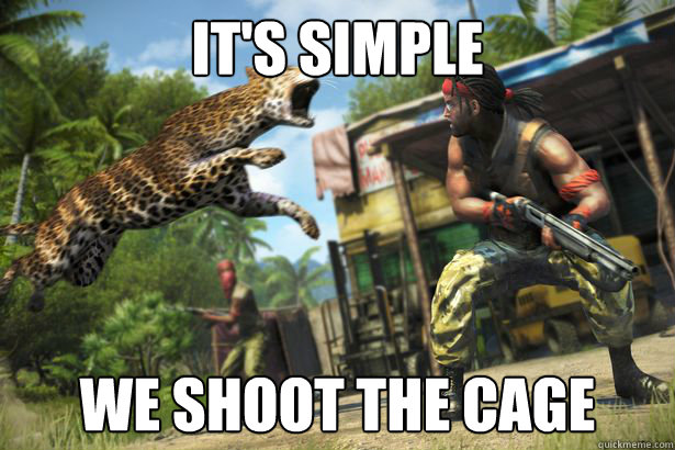 its simple we shoot the cage -