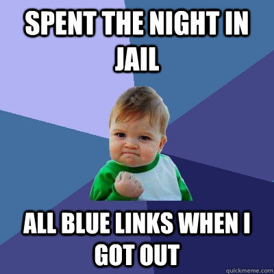 spent the night in jail all blue links when i got out - Success Kid