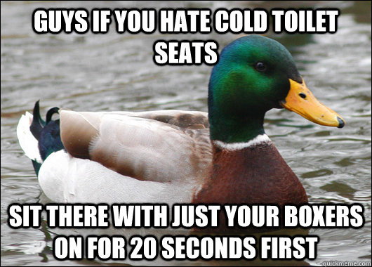 guys if you hate cold toilet seats sit there with just your  - Actual Advice Mallard