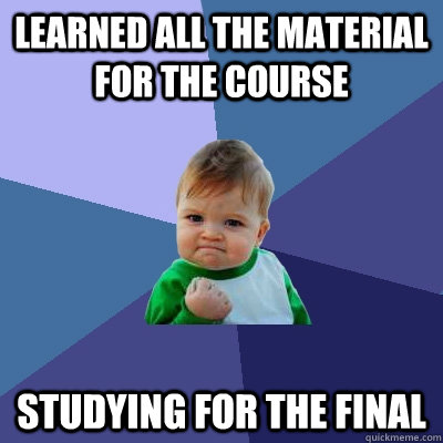 learned all the material for the course studying for the fin - Success Kid
