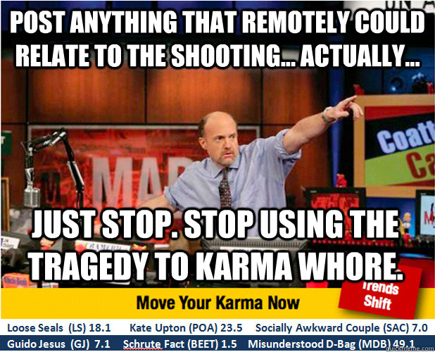 post anything that remotely could relate to the shooting  - Jim Kramer with updated ticker
