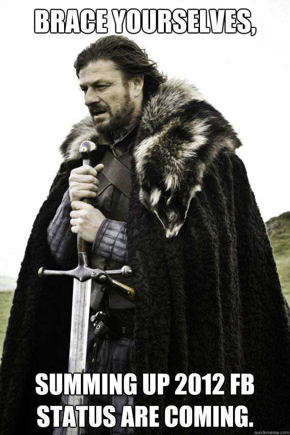 brace yourselves summing up 2012 fb status are coming - Brace yourself