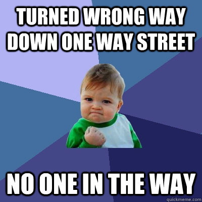 turned wrong way down one way street no one in the way - Success Kid