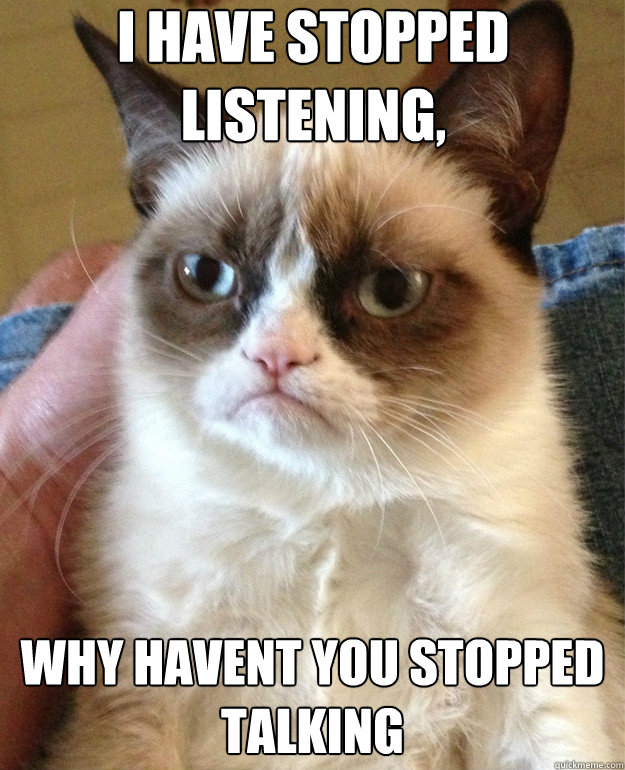 i have stopped listening why havent you stopped talking - Grumpy Cat