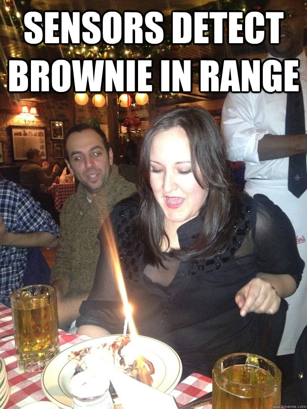 sensors detect brownie in range  - Laser Eyes
