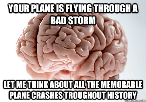 your plane is flying through a bad storm let me think about  - Scumbag Brain