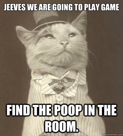 jeeves we are going to play game find the poop in the room - Aristocat