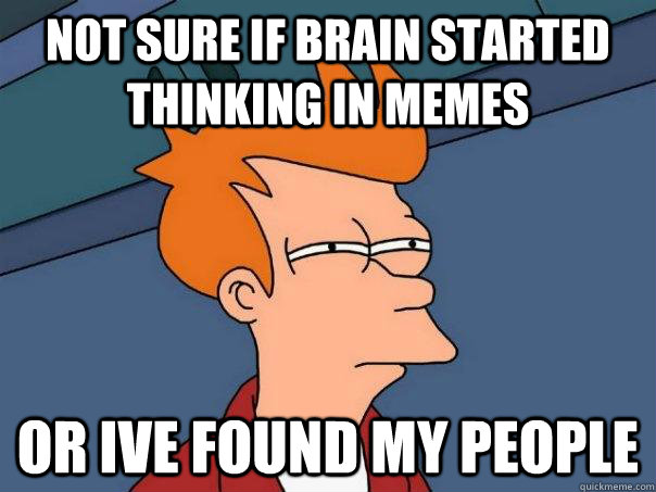not sure if brain started thinking in memes or ive found my  - Futurama Fry