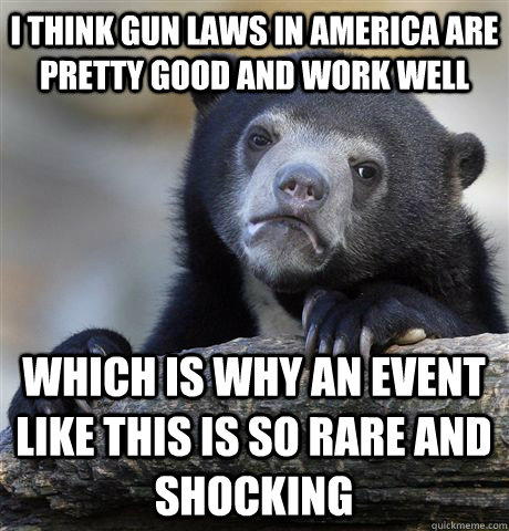 i think gun laws in america are pretty good and work well wh - Confession Bear