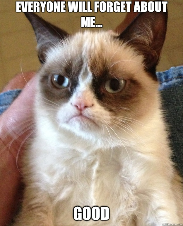 Everyone will forget about me Good - Grumpy Cat