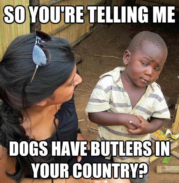 so youre telling me dogs have butlers in your country - Skeptical Third World Child