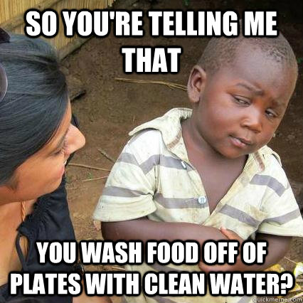 so youre telling me that you wash food off of plates with c - 3rd world sceptical kid