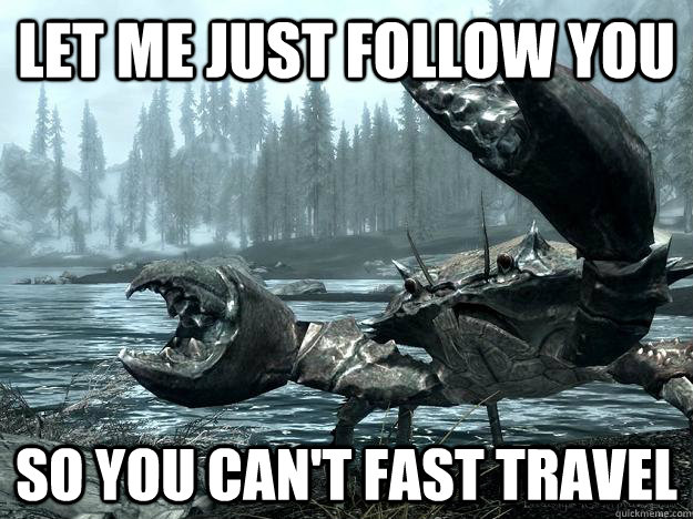 let me just follow you so you cant fast travel - 