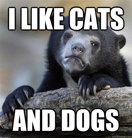 i like cats and dogs  - Confession Bear