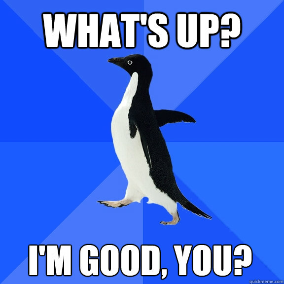 whats up im good you - Socially Awkward Penguin