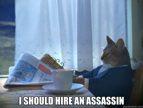 i should hire an assassin  - The One Percent Cat