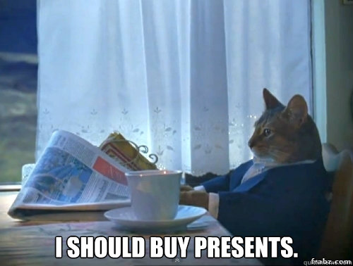 i should buy presents - Contemplative Breakfast Cat