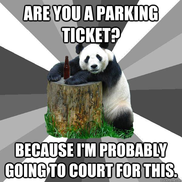 are you a parking ticket because im probably going to cour - Pickup-Line Panda
