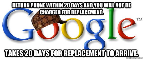 return phone within 20 days and you will not be charged for  - Scumbag Google RMA