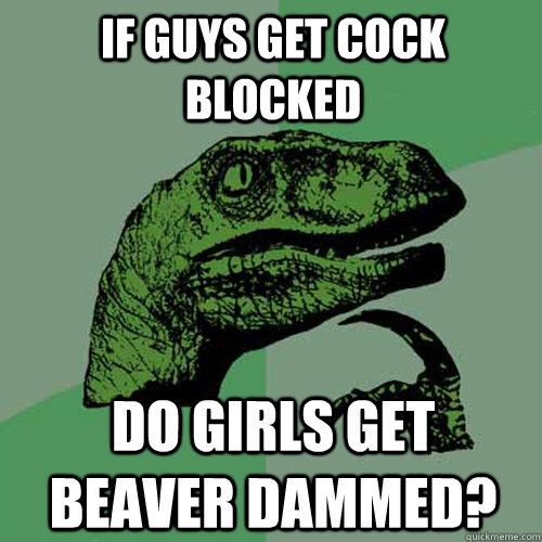 if guys get cock blocked do girls get beaver dammed - Philosoraptor