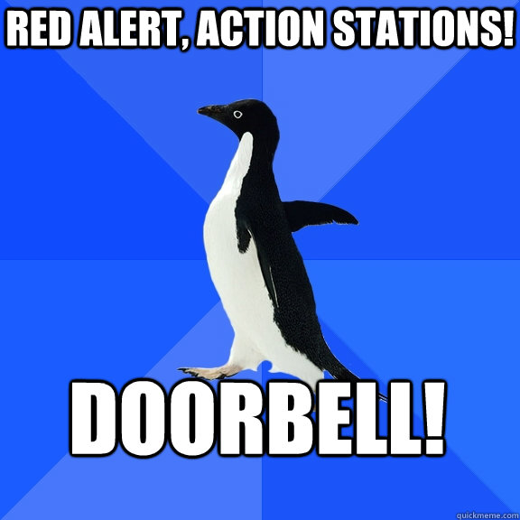 red alert action stations doorbell - Socially Awkward Penguin