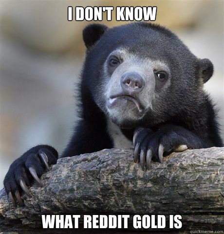 i dont know what reddit gold is - Gaybros Confession Bear