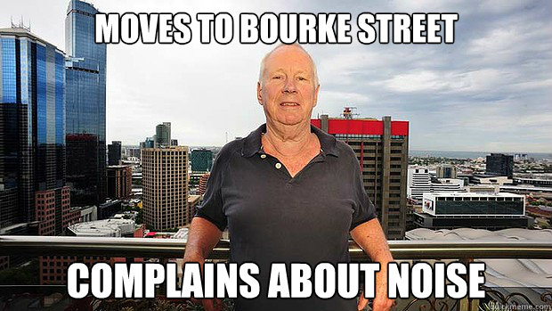 moves to bourke street complains about noise - 
