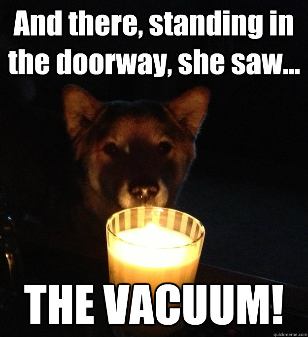 and there standing in the doorway she saw the vacuum - Scary Story Dog