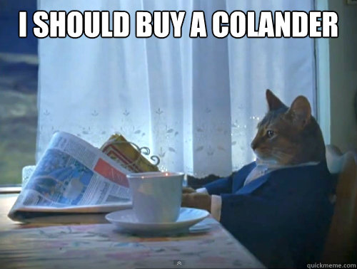 i should buy a colander  - The One Percent Cat