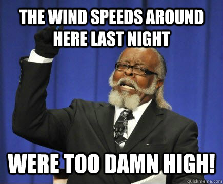 the wind speeds around here last night were too damn high - Too Damn High