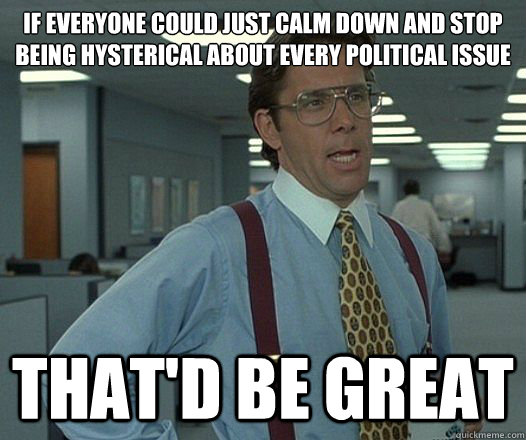 if everyone could just calm down and stop being hysterical a -