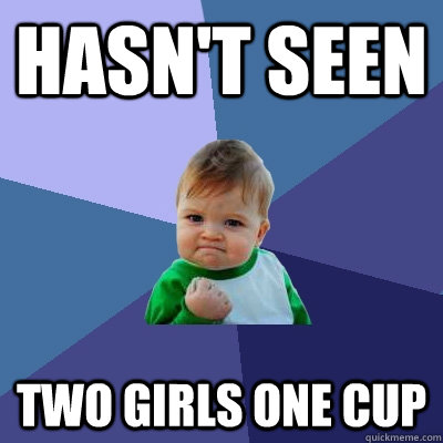 hasnt seen two girls one cup - Success Kid