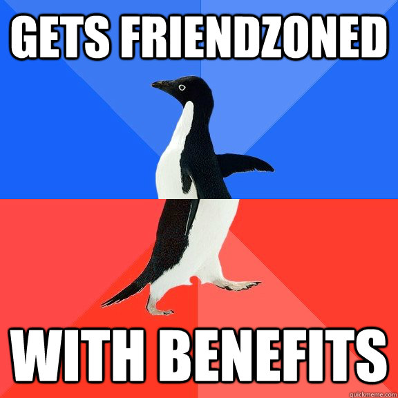 gets friendzoned with benefits - Socially Awkward Awesome Penguin