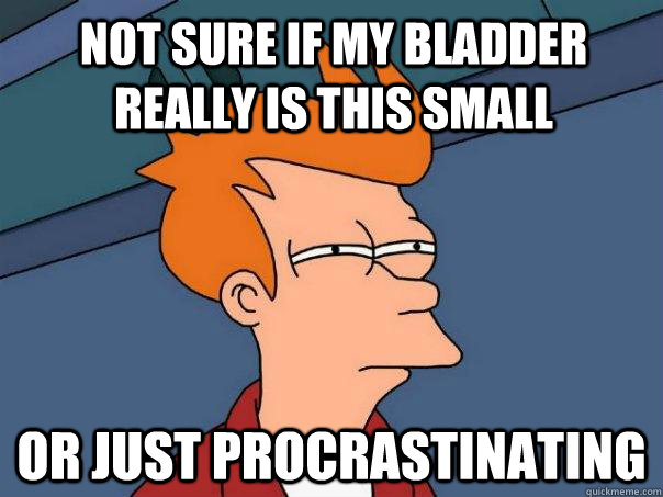 not sure if my bladder really is this small or just procrast - Futurama Fry